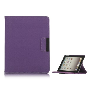 360 Degree Rotating Folio Canvas Stand Case with Stylus for iPad 2nd 3rd 4th Generation - Purple
