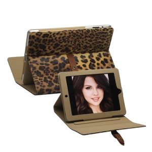 Leopard Leather Case Stand with Belt and Brass Buckle for iPad 2nd 3rd 4th Gen - Brown