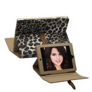 Leopard Leather Case Stand with Belt and Brass Buckle for iPad 2nd 3rd 4th Gen - Grey