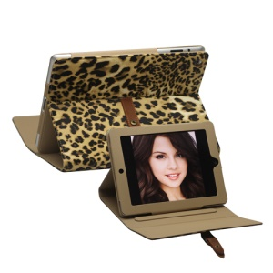 Leopard Leather Case Stand with Belt and Brass Buckle for iPad 2nd 3rd 4th Gen - Yellow