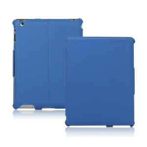 Slim Lychee PU Leather Case Cover for iPad 2nd 3rd 4th Gen - Blue