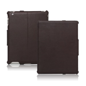 Slim Lychee PU Leather Case Cover for iPad 2nd 3rd 4th Gen - Coffee