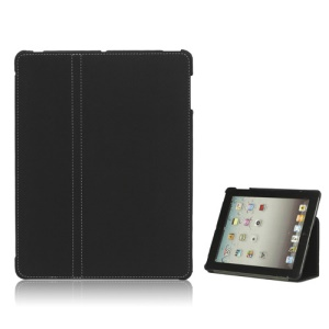 Premium Canvas Folio Case Stand for iPad 2 3 4 - Black