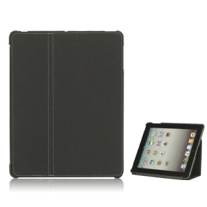 Premium Canvas Folio Case Stand for iPad 2 3 4 - Grey