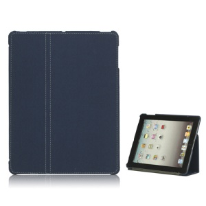 Premium Canvas Folio Case Stand for iPad 2 3 4 - Dark Blue