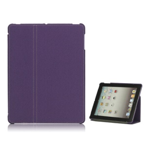 Premium Canvas Folio Case Stand for iPad 2 3 4 - Purple