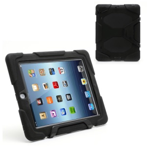 Survivor Military-Duty Silicone & PC Hybrid Hard Case for iPad 2 3 4 with Stand - Black