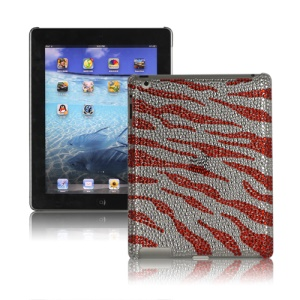 Sparkling Rinestone Zebra Cover Case for New iPad 2nd 3rd 4th Gen - Red