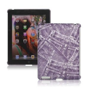 Retro Jeans Leather Hard Case for iPad 2nd 3rd 4th Gen Smart Cover Companion - Purple