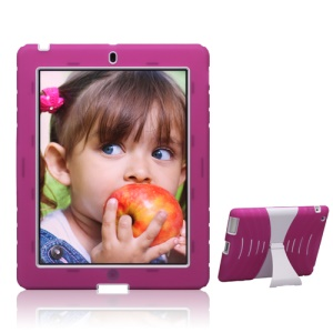 Snap-on Defender Case Cover with Stand for iPad 4th 3rd 2nd Gen - White / Rose