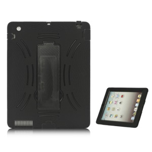 Snap-on Defender Case Cover with Stand for iPad 2 The New iPad - Black