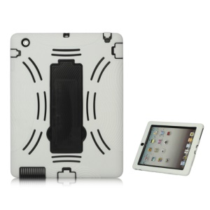 Snap-on Defender Case Cover with Stand for iPad 2 The New iPad - Black / White