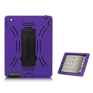 Snap-on Defender Case Cover with Stand for iPad 2 The New iPad - Black / Purple