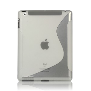 S-Line Wave TPU Gel Case for New iPad 2 3 4 - Transparent