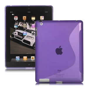 S-Line TPU Skin Cover Case for The New iPad - Purple