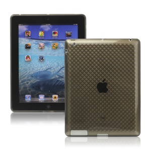 Stylish Diamond TPU Skin Cover Case for New iPad 2nd 3rd 4th Gen - Grey