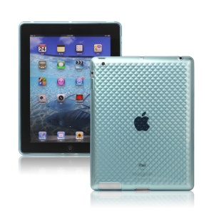Stylish Diamond TPU Skin Cover Case for New iPad 2nd 3rd 4th Gen - Blue
