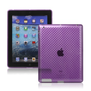 Stylish Diamond TPU Skin Cover Case for The New iPad 3rd Gen - Purple