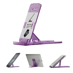 Foldable Plastic Holder Stand for The new iPad iPhone Tablet PC and etc - Purple