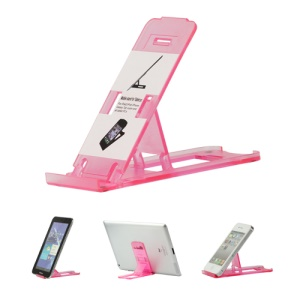 Clear Foldable Plastic Stand Bracket for The new iPad iPhone Smartphones - Rose