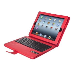 Seenda IS11-I311H Detachable Bluetooth Keyboard + Leather Case w/ Kickstand for iPad 4 3 2 - Red