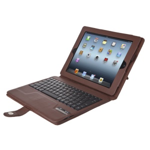 Seenda IS11-I311H Detachable Bluetooth Keyboard + Leather Case w/ Kickstand for iPad 4 3 2 - Brown