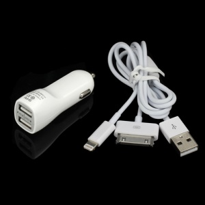 2.1A Car Charger + 8 Pin &amp;amp; 30 Pin USB Charging Cable for iPhone iPad iPod