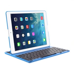360 Degree Rotating Bluetooth Keyboard Cover Desk Holder for iPad 4 / 3 / 2 - Blue