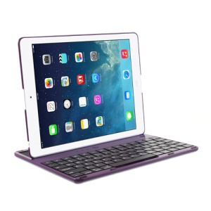 360 Degree Rotating Bluetooth Keyboard Cover Desk Holder for iPad 4 / 3 / 2 - Purple