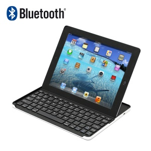 Thin Aluminum Alloy Wireless Bluetooth 3.0 Keyboard Cover w/ Bracket Stand for iPad 4 / 3 / 2