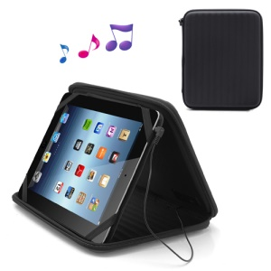 Strong Leather Case Bag with Built-in Speaker for iPad 1st 2nd 3rd 4th Gen - Black