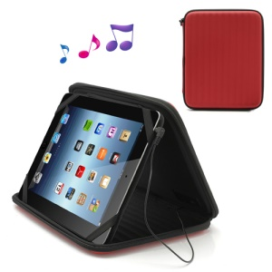 Strong Leather Case Bag with Built-in Speaker for iPad 1st 2nd 3rd 4th Gen - Red