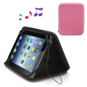 Strong Leather Case Bag with Built-in Speaker for iPad 1st 2nd 3rd 4th Gen - Pink