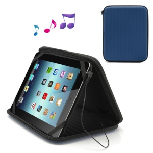 Strong Leather Case Bag with Built-in Speaker for iPad 1st 2nd 3rd 4th Gen - Blue