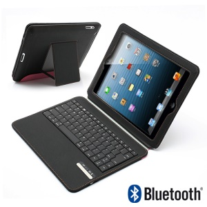 Ultra Thin Wireless Bluetooth Keyboard Stand Leather Portfolio Cover for iPad 4 / 3 / 2 - Black / Pink