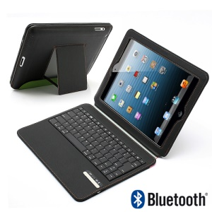 Ultra Thin Wireless Bluetooth Keyboard Stand Leather Portfolio Cover for iPad 4 / 3 / 2 - Black / Green