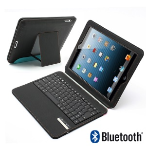 Ultra Thin Wireless Bluetooth Keyboard Stand Leather Portfolio Cover for iPad 4 / 3 / 2 - Black / Blue