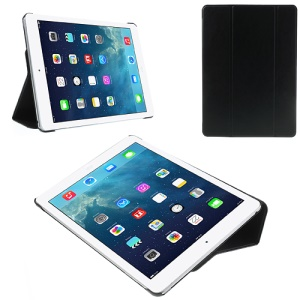 Black Folio Tri-fold Smart Leather Cover + PC Back Case for iPad Air w/ Stand
