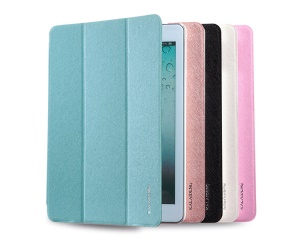 KLD Iceland Series Flip Style Tri-fold Leather Smart Cover w/ Stand for iPad Air;White
