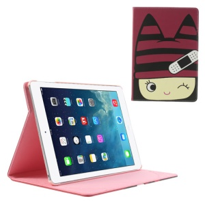 Happy Girl Smart Leather Case w/ Stand for iPad Air - Red Background