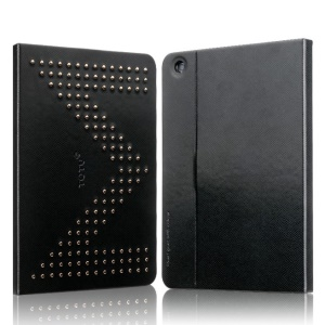 TOTU Modern Series for iPad Air M Letter Design Rivet Studded Smart Leather Cover w/ Stand - Black