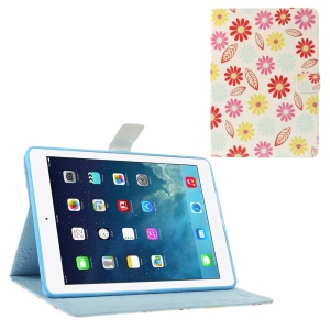 Cartoon Flowers & Leaves Smart Leather Protector Case with Stand for iPad Air 5