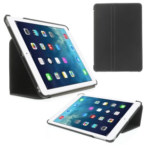 Twill Cloth Texture Folio Leather Stand Shell for iPad Air - Black