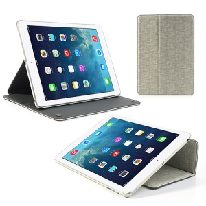 White Lyrebird Smooth Series for iPad Air Smart Awakening Linen Grain Leather Case Stand
