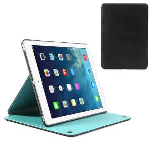 Black Lyrebird Clever Series Smart Awakening Checker Leather Case Stand for iPad Air