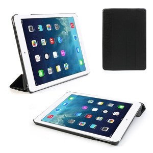 Black for iPad Air Four-Fold Stand Silk Grain Leather Case