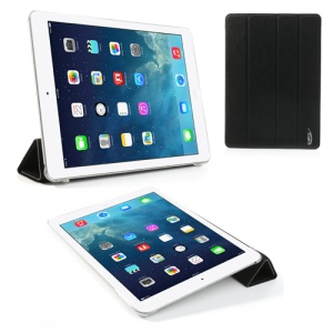 Black Smart Awakening for iPad Air Toothpick Leather Four-fold Stand Case
