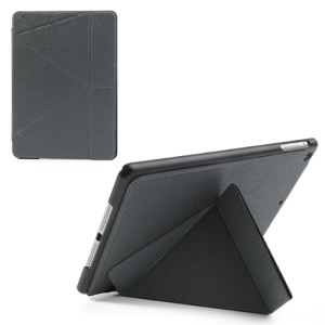 Transformer Folded Linen Grain Folio Leather Case Stand for iPad Air - Grey