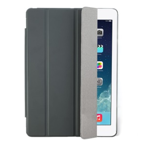 Dark Grey Four-fold Leather Smart Cover for iPad Air w/ Detachable Companion Case