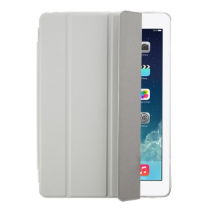 Light Grey Four-fold Leather Smart Cover for iPad Air w/ Detachable Companion Case